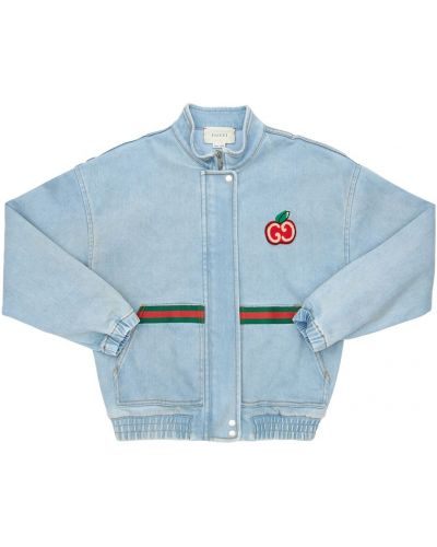 Niebieski jeansy z kołnierzem rozciągać z mankietami Gucci