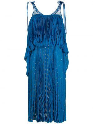 Шелковое платье миди - синее Marco De Vincenzo