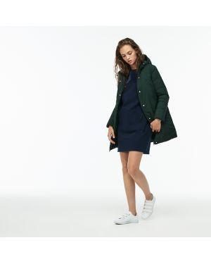 Куртка с капюшоном утепленная зеленая Lacoste