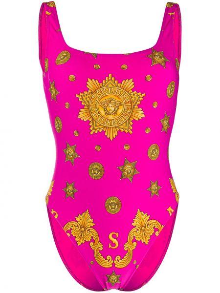 Купальник розовый с вырезом Versace