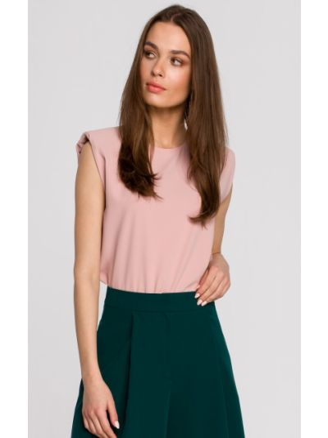 Różowa bluzka bez rękawów do pracy Stylove