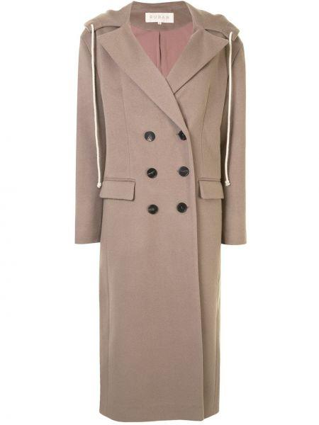 Прямое шерстяное пальто с капюшоном айвори на пуговицах Ruban