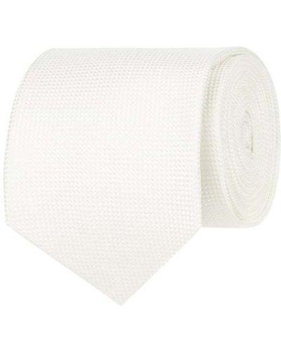 Biały klasyczny krawat z jedwabiu Blick