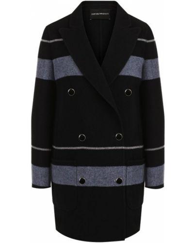 Пальто двубортное с накладными карманами Emporio Armani
