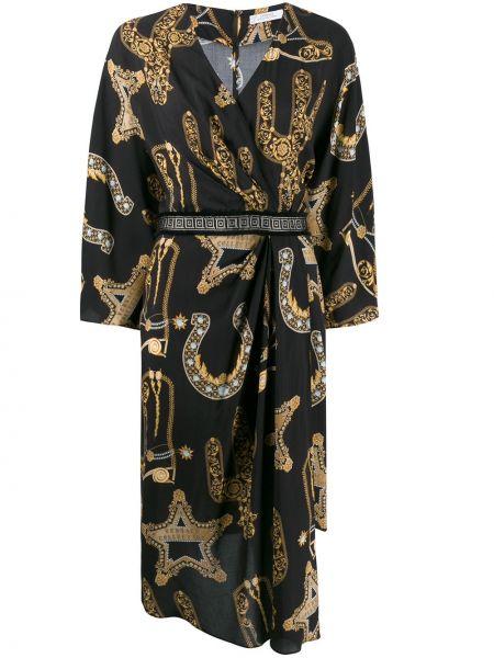 Платье с запахом - черное Versace Collection