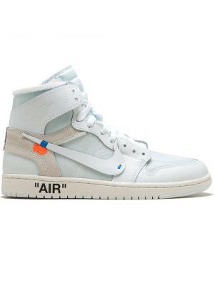 Skórzane sneakersy białe z logo Nike X Off White