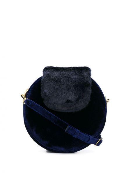 Синяя шелковая сумка на плечо круглая La Seine & Moi