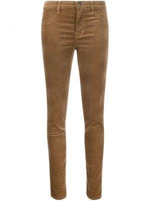 Хлопковые коричневые укороченные брюки на пуговицах J Brand