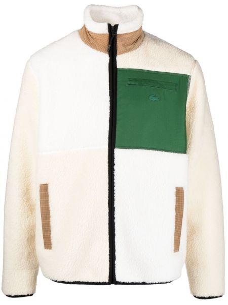 Zielona długa kurtka z haftem z długimi rękawami Lacoste Live