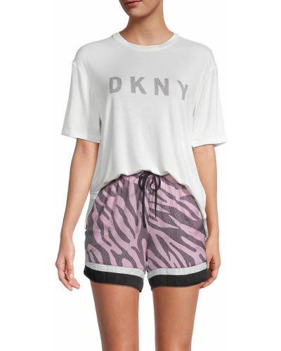 Белая футболка с короткими рукавами для сна Dkny
