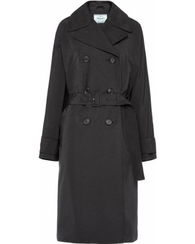 Czarny płaszcz przeciwdeszczowy bawełniany zapinane na guziki Prada