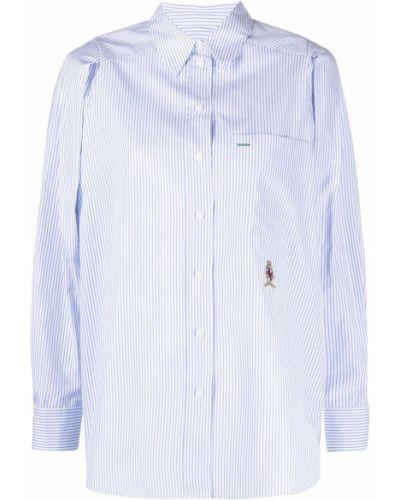 Хлопковая синяя рубашка с нашивками Hilfiger Collection