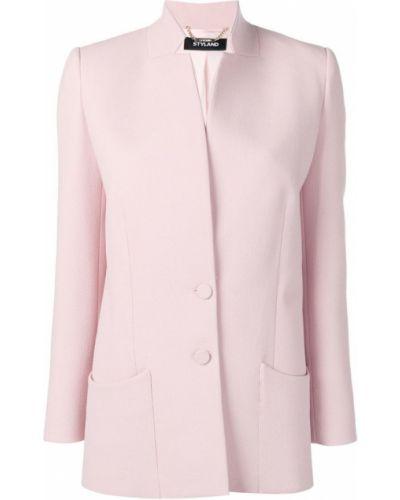 Пиджак розовый с накладными карманами Styland