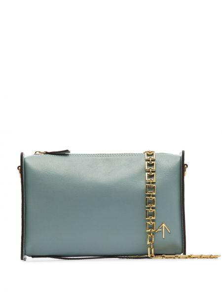 Синяя кожаная сумка из натуральной кожи Manu Atelier