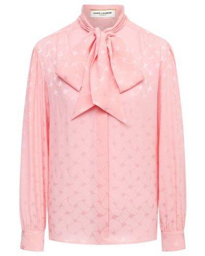 Розовая шелковая блузка Saint Laurent