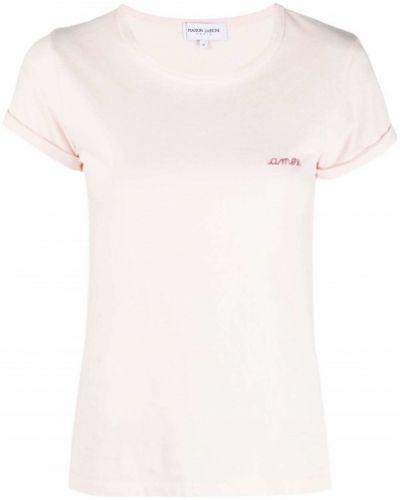 Хлопковая футболка с вышивкой с вырезом Maison Labiche