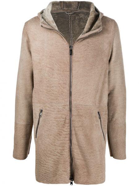 Beżowy płaszcz z kapturem skórzany Giorgio Brato