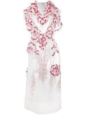 Платье миди с цветочным принтом с V-образным вырезом Simone Rocha