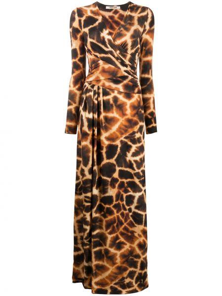 Коричневое с рукавами платье макси на молнии Roberto Cavalli