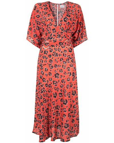 Платье миди с принтом - оранжевое Suboo