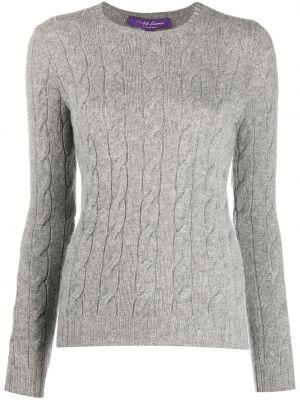Кашемировый серый вязаный свитер с круглым вырезом Ralph Lauren