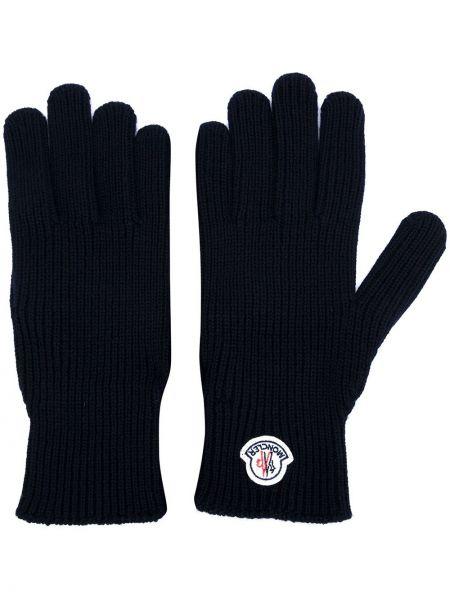 Prążkowane czarne rękawiczki wełniane Moncler