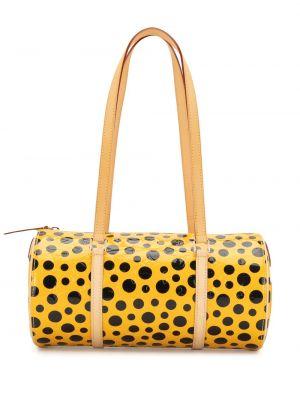 Желтая кожаная сумка на плечо винтажная Louis Vuitton