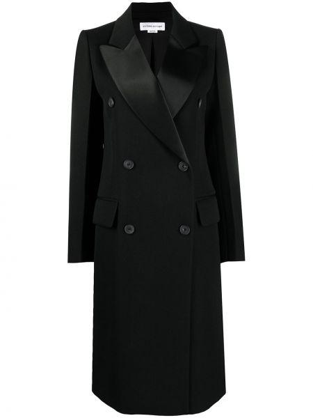 Черное длинное пальто двубортное на пуговицах Victoria Beckham