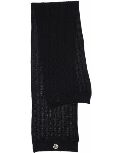 Wełniany czarny szalik z łatami Moncler