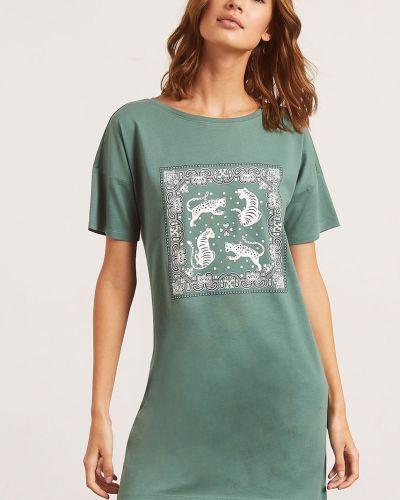 Koszula nocna bawełniana - zielona Etam