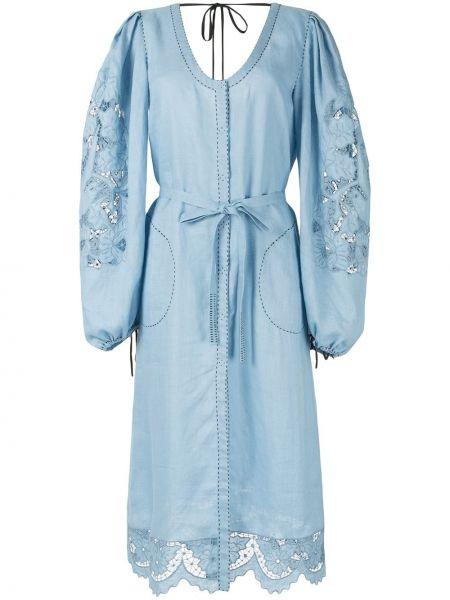 Ажурное с рукавами синее платье миди на шнуровке Vita Kin