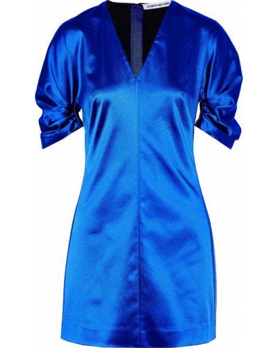 Сатиновое синее платье мини на крючках Elizabeth And James