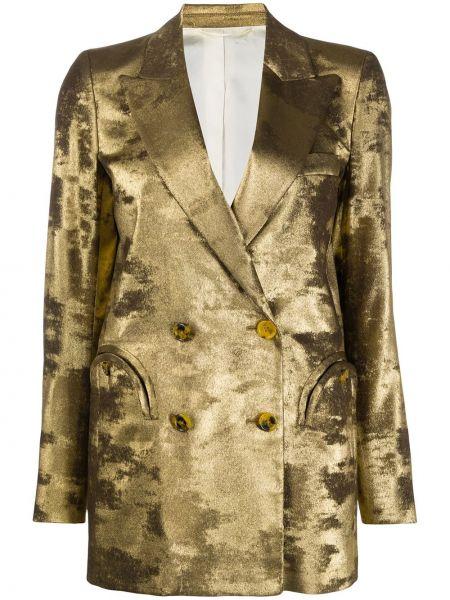 С рукавами желтая куртка двубортная Blazé Milano