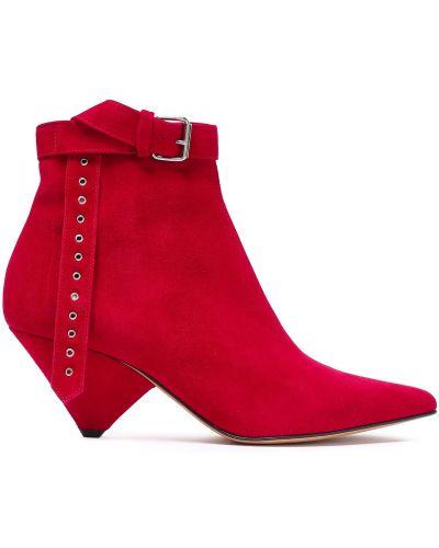 Ankle boots zamszowe na obcasie w szpic Iro