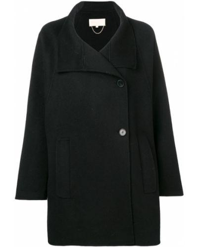 Черное длинное пальто с капюшоном Vanessa Bruno