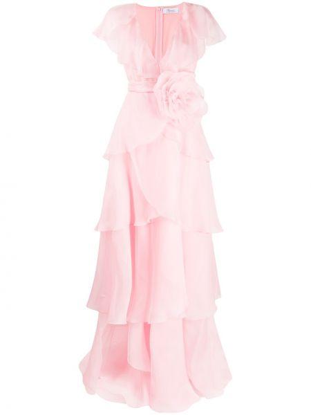 Шелковое платье макси - розовое Blumarine