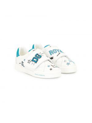 Белые кроссовки с заплатками круглые с круглым носом Dolce & Gabbana Kids