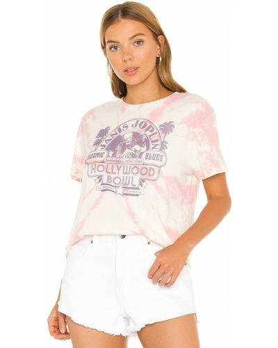 Розовая текстильная резинка для волос с принтом Junk Food