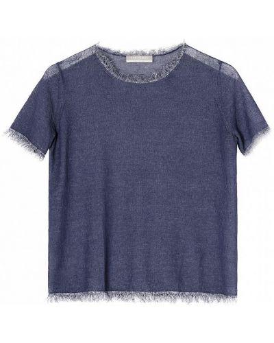 Хлопковый синий свитер с короткими рукавами Stefanel