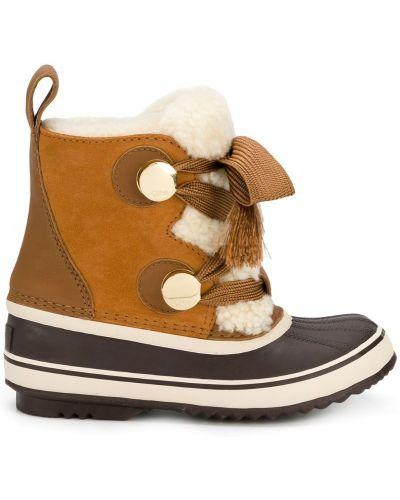 Коричневые ботинки на шнуровке Chloé