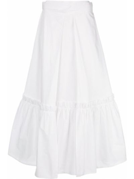 Хлопковая белая расклешенная юбка миди Rosetta Getty