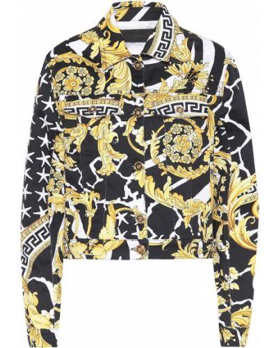 Кожаная куртка черная джинсовая Versace