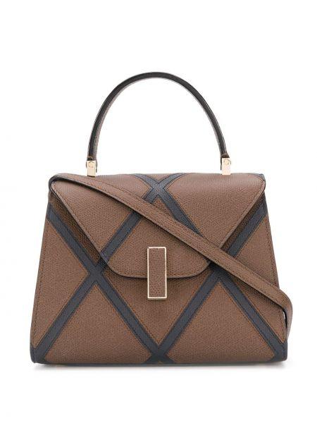 Кожаная коричневая сумка-тоут с карманами Valextra