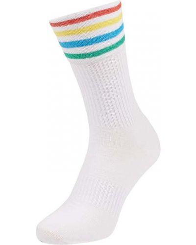 Białe skarpety bawełniane w paski Happy Socks