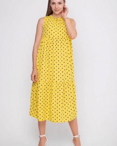 Прямое желтое платье Sfn