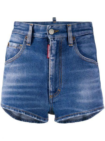 Джинсовые шорты в клетку с карманами Dsquared2