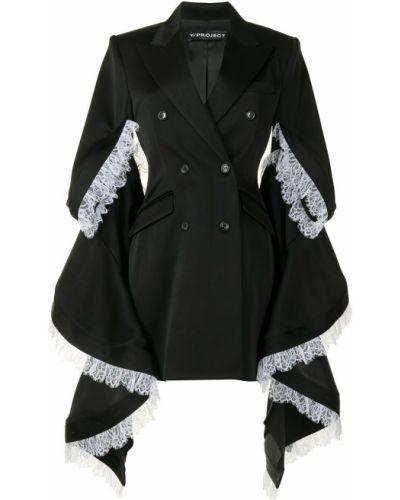 Черное пальто классическое двубортное с вышивкой Y/project