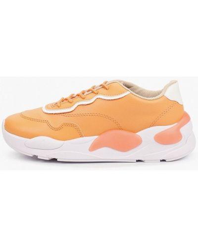 Оранжевые кожаные кроссовки Moleca