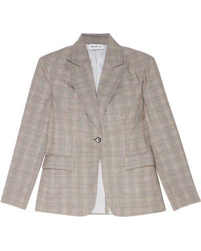Серый однобортный пиджак с воротником ли-лу