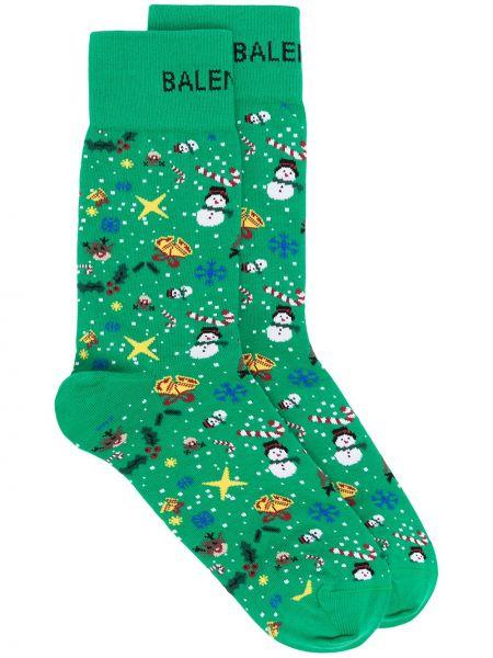 Trykotowy zielony bawełna bawełna skarpety Balenciaga